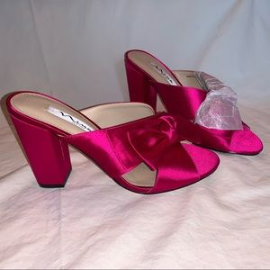 "Nina New York 4"" Satin Open-Toe Pink Bow Heels"